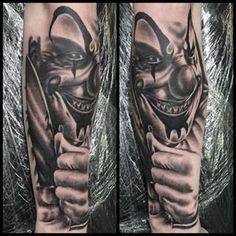 Horror sleeve in progress. Evil Clown Tattoos, Scary Tattoos, Cool Tattoos, Tatoos, Horror Tattoos, Awesome Tattoos, Evil Clowns, Scary Clowns, Tattoo Drawings