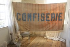 Vintage French Candy Store painted sign ticking textile ~ Confiserie ! c1910 distressed, wonderful antique treasure