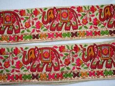 Wholesale Beige Elephant Borders Silk Decorative Indian Sari Trim By 9 Yard Embroidered Ribbon Sewing Fabric Trim Craft Ribbon Red Deep Red Burnt Orange Green Embroidered designer Trims Indian Fabric, Silk Fabric, Decorative Trim, Decorative Boxes, Ribbon Sewing, Diy Belts, Fashion Tape, Book Binding, Band