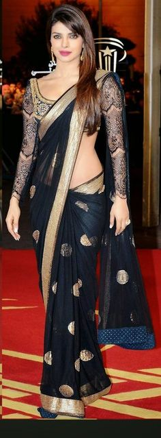 Priyanka Chopra Black Net Saree Priyanka Chopra Saree, Bollywood Saree, Bollywood Fashion, Bollywood Designer Sarees, Saree Fashion, Indian Bollywood, Indian Attire, Indian Wear, Indian Dresses