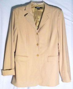 DKNY 80% Wool Twill Texture Straw Tailored Jacket/Blazer - Made in Italy - 10 #DKNY #BlazerJacket #jacket #blazer #straw #tan #wool #10