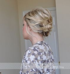 Messy updo tutorial :) looks like it works for shorter hair as well.