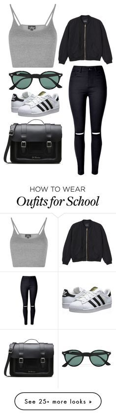 """""""School"""" by april-baby123 on Polyvore featuring Topshop, WithChic, Monki, Dr. Martens, adidas Originals and Ray-Ban"""