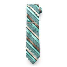 Men's Van Heusen Patterned Skinny Tie With Tie Bar, Green