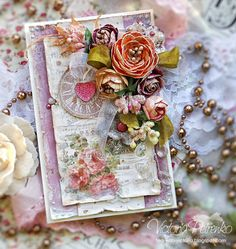 Shabby Chic handmade card. By Victoria Petrenko.
