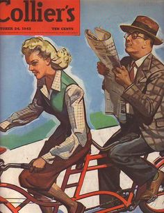 1942 vintage bike cover art for Collier's magazine October 24. Illustration of tandem bicycle. Illustrator: Harry Morse Meyers.