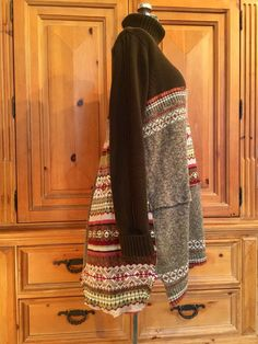 Upcycled Rustic Bohemian Patchwork Sweater Tunic Dress
