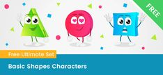 Vector Characters, Cartoon Characters, Free Vector Clipart, Vector Shapes, Basic Shapes, Distance, Alphabet, Clip Art, Learning