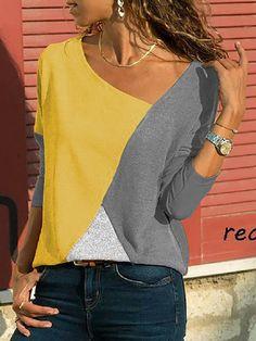 9b76133a76cdb Asymmetric Neck Patchwork Contrast Stitching T-Shirts - Onlyyo.com High  Quality T Shirts