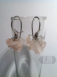 Your place to buy and sell all things handmade Cluster Earrings, Rose Quartz, Sculpting, Dangles, Jewelry Design, Sterling Silver, Beads, Stone, Pink