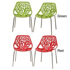 Grace your living space with these attractive plastic accent chairs. Available in a set of two, these modern chairs feature a heavy steel frame with a chrome finish to ensure stability and make the ch