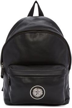 VERSUS Black Leather Logo Backpack. #versus #bags #leather #lining #backpacks #