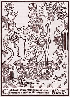 St. Christopher. Earliest Dated Woodcut. 1423