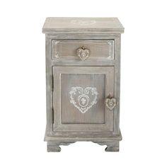 Table de chevet avec tiroir en bois de paulownia grisée L 38 cm Camille