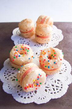 Doughnut Macarons with Strawberry Jam Buttercream by raspberri cupcakes, via Flickr
