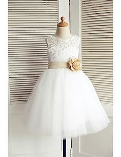 A-line Knee-length Flower Girl Dress - Lace / Tulle Sleeveless 2016 - $59.99