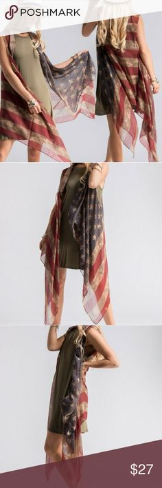 """American Flag Shawl Vest Be the talk of your 4th of July party with this unique American flag shawl vest! 🇺🇸 100% Polyester. 39""""x71"""" one size Accessories Scarves & Wraps"""