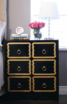 Ikea Rast Chest updated! For under $100 I can get two of these and finish them up to use as nightstands. I'm thinking Black overall like the picture, but then silver for the design (I'll probably do something similar, but I love the visual trick they used to make it look like it  has 6 drawers instead of 3).