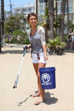 Audrina Patridge at the Ocean Minded beach cleanup in Santa Monica!