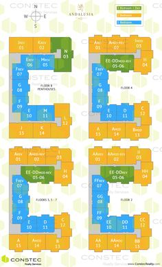 100 Andalusia site plan/key plan. Coral Gables floor plans.