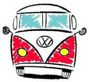 red VW camper drawing