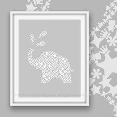 1401e90x87 Elephant art printable 01e - Monochrome gray 87- Safari nursery wall art - Kids room decor - Instant download  Make this design a