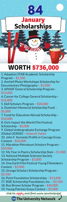 January Scholarships Here are 84 January Scholars College Mom, College Life Hacks, School Hacks, College Tips, School Scholarship, Scholarships For College, Undergraduate Scholarships, College Students, College Checklist