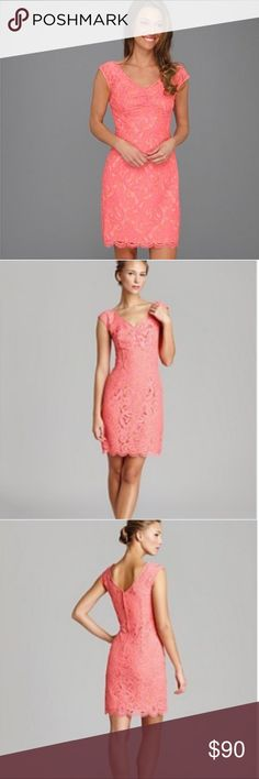 Lilly Pultizer Rosaline pink/coral lace dress 0 Lilly Pultizer Rosaline cap-sleeve two-toned lace dress in pink/coral. Back zip. Size 0. Worn once. Beautiful lace detail. Wide v-neck. Smoke free home. Lilly Pulitzer Dresses