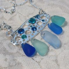 Seaglass Jewelry - sparkling sapphires seaglass necklace by Ecstasea, via Flickr