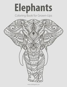 Elephants Coloring Book for Grown-Ups 1 by ColoringArtist on Etsy