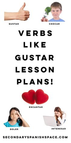 Gustar Spanish Activities: Verbs Like Gustar - Free gustar worksheets and class activities to teach verbs like gustar. Secondary Spanish Space Free Spanish Lessons, Spanish Lesson Plans, Free Lesson Plans, Spanish 1, Spanish Class, Middle School Spanish, Elementary Spanish, Spanish Teacher, Teaching Spanish