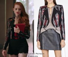 "madelainepetschfashion: """"Riverdale - Chapter ""The Watcher In The Woods."" "" Cheryl Blossom wears the BCBGMAXAZRIA 'Nathan Double-Lapel Jacke' (Sold Out) in - ""The Watcher In The Woods"" "" Cheryl Blossom Riverdale, Riverdale Cheryl, Fashion Tv, Skirt Fashion, Fashion Outfits, Cherry Blossom Outfit, Veronica Lodge Outfits, Red And Black Outfits, Diy Clothes And Shoes"