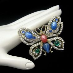 Vintage Large Figural Butterfly Brooch Pin Glass Stones Rhinestones Blue Green, $139 from www.myclassicjewelryshop.com - this Vintage Butterfly brooch with glass stones and rhinestones makes a wonderful gift!