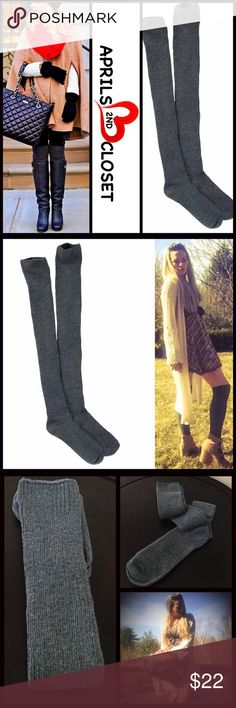 Tall Over The Knee Boot Socks Thigh Highs Tall Over The Knee Boot Socks Thigh Highs  💟 NEW WITH TAGS 💟  * Super soft knit fabric w/allover subtle ribbed detail  * Over the knee & extra long thigh high length  * Stretch-to-fit style; Tagged one size fits most   * Approx. Fits Shoe sizes 5.5-10 Fabric: 75% Cotton & 25% Spandex  Color: Charcoal grey Item:  🚫No Trades🚫 ✅ Bundle Discounts✅ Boutique Accessories Hosiery & Socks
