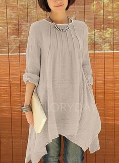 This looks really elegant but comfortable - Crinkle Chest Irregular Hem Linen Tunic Look Fashion, Womens Fashion, Latest Fashion, Fashion Trends, Linen Tunic, Cotton Linen, Estilo Boho, Mode Hijab, Linen Dresses