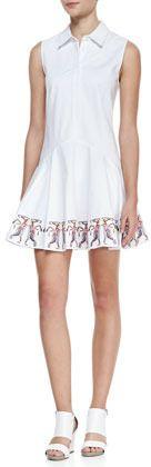 Elle Sasson Betty Sleeveless Embroidered-Hem Shirtdress