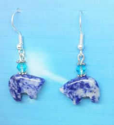 Soladite Zuni Bear Earrings, the Bear is the guardian of the mother earth by HollinsHandMade on Etsy