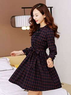 Vintage Style Long Sleeve Plaid Dress on Luulla