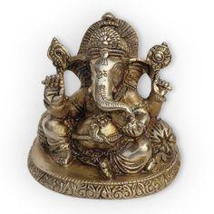 Pillow Ganesha Hindu God Sculptures Handmade Brass Statues from India