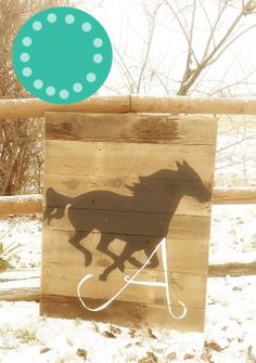 "30"" x 36"" Running Horse Wall Art for a little girls room!!!! with an ""A"" Monogram!!!!"