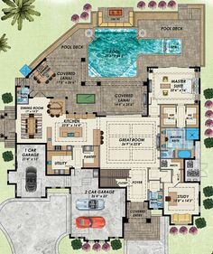 Florida Style House Plan Number 71537 with 4 Bed, 6 Bath, 3 Car Garage - Florida Mediterranean Level One of Plan 71537 - Family House Plans, Dream House Plans, House Floor Plans, Home And Family, House Plans With Pool, House Plans One Story, The Plan, How To Plan, Florida Style