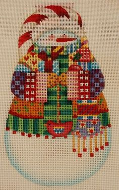 Nordic Snowman hand painted needlepoint canvas from Melissa Shirley designs.