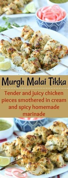 Murgh Malai Tikka, Step by step Indian Murgh Malai Tikka Tender and juicy Murgh Malai Tikka are super easy to make and are bursting with flavor. Smothered in homemade marinade these tikkas will surely rock your barbecue party! Indian Appetizers, Chicken Appetizers, Appetizer Recipes, Indian Snacks, Party Appetizers, Chicken Snacks, Indian Foods, Indian Chicken Recipes, Easy Chicken Recipes