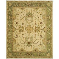 Safavieh Hand-made Taj Mahal Ivory/ Green Wool Rug (5'6 x 8'6)