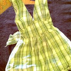 Plaid green halter top Dressy plaid green halter top!! Ties in back!!! Tops