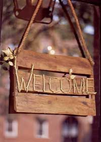 "Inspiration for a ""Welcome"" sign project."