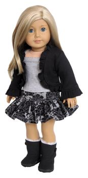 Black and grey outfit for American Girl Doll.