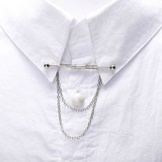 Silver Tone Shirt Collar Double Ends Clip Lapel with Chain