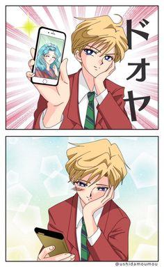 Sailor Moon - Haruka Tenou x Michiru Kaiou - HaruMichi Sailor Uranus, Sailor Moon Meme, Arte Sailor Moon, Sailor Neptune, Sailor Mars, Manga Anime, Yuri Anime, Me Anime, Anime Art