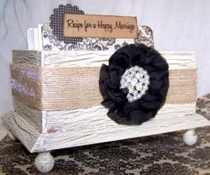 Super Cute!  Unique bridal shower or wedding guest book idea.  Recipe for a Happy Marraige Box Divider and Insert by itsmyday, $43.00